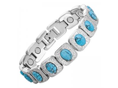 Дамска Магнитна гривна от титан за високо кръвно със сини камъчета, Т-282